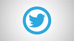 8K - Twitter icon symbol round logo Stock Footage