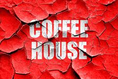 Grunge cracked Coffee house sign Stock Illustration