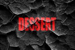 Stock Illustration of Grunge cracked Delicious dessert sign