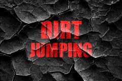 Grunge cracked dirt jumping sign background - stock illustration