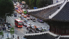 Elevated View of the Historic East Gate with Traffic around it. Stock Footage
