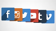 4k - Social media icon stacking Stock Footage
