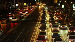 Night Traffic congestion in Asok in Time Lapse - stock footage