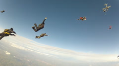 Skydiving group challenge formation - stock footage