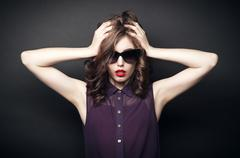 Girl in sunglasses Stock Photos