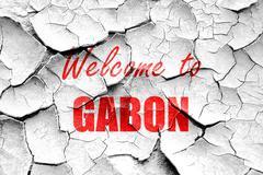 Grunge cracked Welcome to gabon - stock illustration