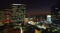 Elevated Night View of Hoehyeon-dong District Stock Footage