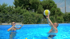 Enjoyable and active summer day in the pool Stock Footage