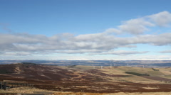 Windfarm and Angus Glens viewed from Sidlaw Hills Scotland Stock Footage