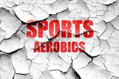 Grunge cracked sports aerobics sign background - stock illustration