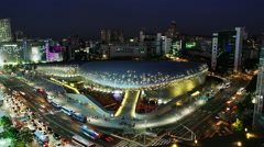 Elevated View of the Dongdaemun Design Plaza (DDP) Time Lapse Stock Footage