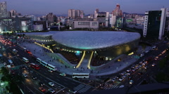 Elevated View of the Dongdaemun Design Plaza (DDP). Stock Footage