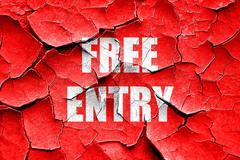 Stock Illustration of Grunge cracked Free entry sign