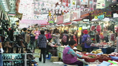 Market Scene at Namdaemun Market Stock Footage