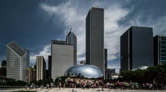 Cloud Gate in Millennium Park, Chicago, USA Stock Footage