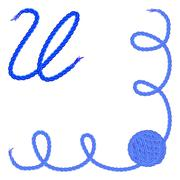 Letter U. Alphabet font vector - yarn, rope, cable - stock illustration