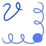 Letter V. Alphabet font vector - yarn, rope, cable - stock illustration