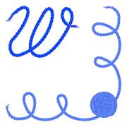 Letter W. Alphabet font vector - yarn, rope, cable Stock Illustration