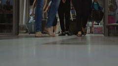 People with luggage the airport terminal Stock Footage