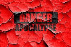Grunge cracked apocalypse danger background - stock illustration