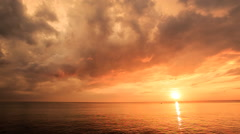 Picturesque Sunset above Sea with Bright Sunpath Stock Footage