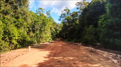 Moving along Shadow Sunny Ground Road in Tropic Forest - stock footage