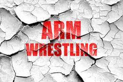 Stock Illustration of Grunge cracked arm wrestling sign background