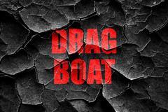 Grunge cracked drag boat sign - stock illustration