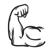 Strong arm vector hand drawn icon. Power. - stock illustration
