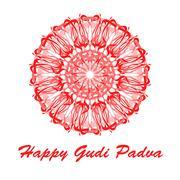 Hand drawn mandala abstract circle ornament vector illustration - stock illustration