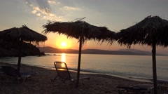 4K Romantic beach sunset sunrise exotic peaceful shore paradise Skiathos island  Stock Footage
