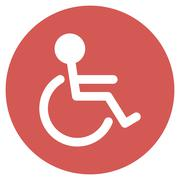 Handicapped Flat Round Icon - stock illustration