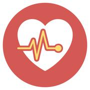 Heart Pulse Flat Round Icon Stock Illustration
