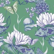 Vintage pond water flowers vector seamless pattern - stock illustration