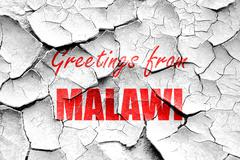 Stock Illustration of Grunge cracked Greetings from malawi