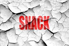 Grunge cracked Delicious snack sign - stock illustration