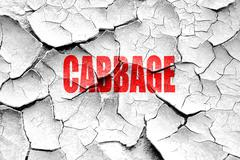 Grunge cracked Delicious cabbage sign - stock illustration