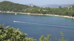 4K Aerial view yacht sail famous Koukounaries beach Skiathos Island emblem day   Stock Footage