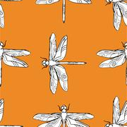 Dragonfly seamless pattern vector hand drawn illustration.. Stock Illustration