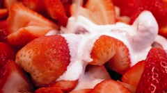 Cream Pours On Strawberry Dessert Stock Footage
