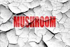 Stock Illustration of Grunge cracked Delicious mushroom sign