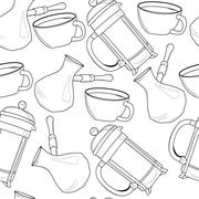Seamless pattern with french press, cup and turkish coffee pot Stock Illustration