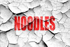 Stock Illustration of Grunge cracked Delicious noodles sign