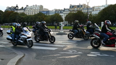 Protest of motorcyclists in Paris. 4K Stock Footage