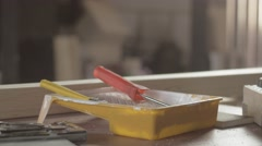 Woodworking materials, varnish, roller, wooden board. Manufacturing furniture Stock Footage