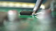 Soldering microchips and circuit boards Stock Footage