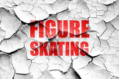 Grunge cracked figure skating sign background - stock illustration