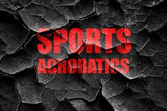 Grunge cracked sports acrobatics sign background Stock Illustration