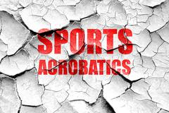 Grunge cracked sports acrobatics sign background - stock illustration
