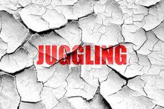 Grunge cracked juggling sign background - stock illustration